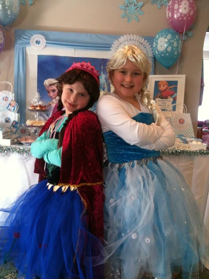 Elsa and Anna Tutu costume for my daughter Allyx's 8th birthday (she is Elsa, Hannah is Anna).