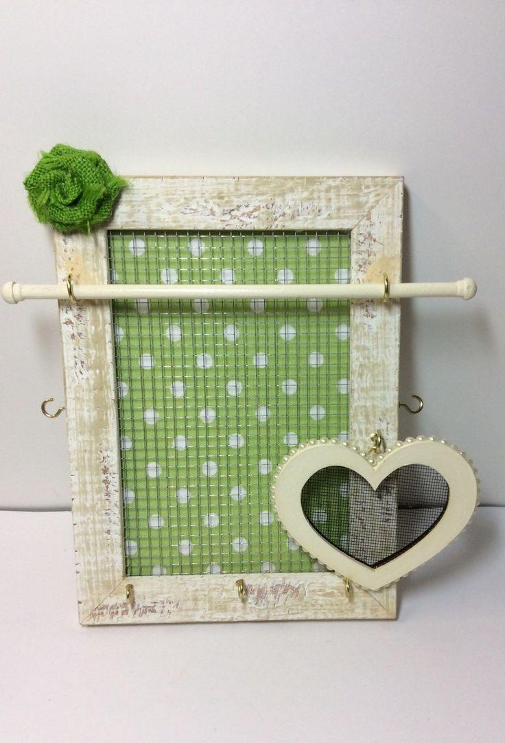 Jewelleryanizer Frame, Vintage Inspired Jewelry Storage, Stud Earring  Holder, Apple Green Polka