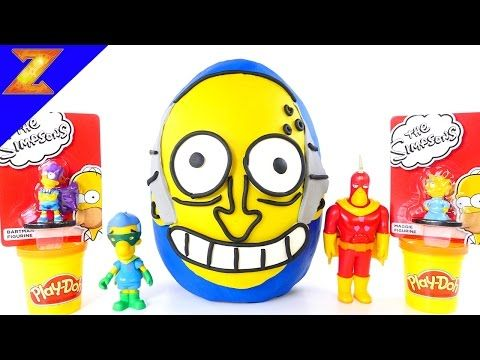 Giant Play Doh Surprise Egg Mr Burns NEW The Simpsons Toys Videos LEGO Kidrobot Series 2 - YouTube