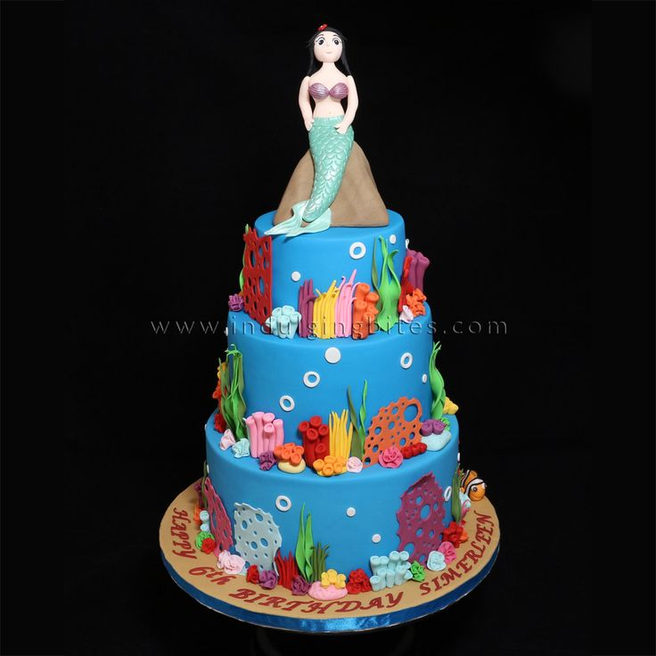 3 Tiers Little Mermaid Undersea World Themed Birthday Celebration Cake