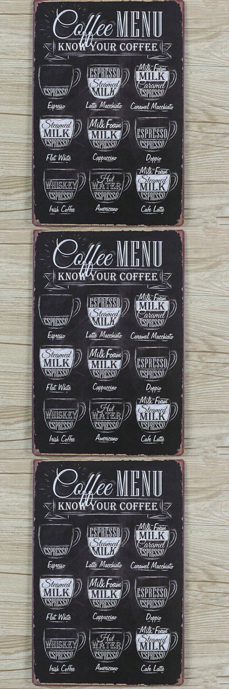 Coffees menu Vintage Tin Sign Bar pub home Wall Decor Retro Metal Art Poster  Bar Coffee Pub Retro $6.99