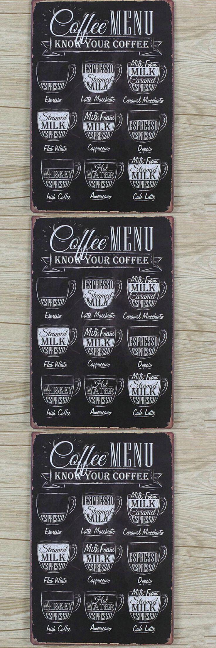 Coffees menu Vintage Tin Sign Bar pub home Wall Decor Retro Metal Art Poster  Bar Coffee Pub Retro $6.99