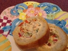 Yummy Stuffed Baguette Appetizer Leave out salami for vegetarians