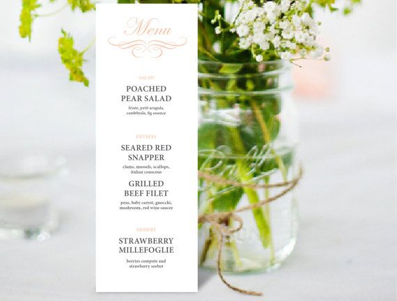 147 best Printable Wedding Stationary images on Pinterest - Menu Word Template