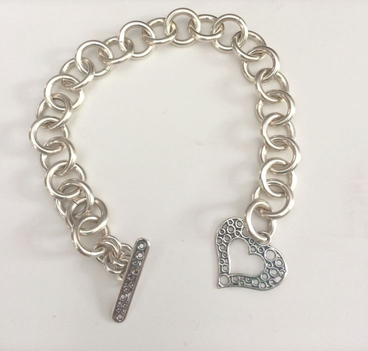 Sterling Silver Bracelet with Sterling Silver Heart Toggle Clasp- http://etsy.me/1JYlVlf