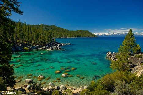 A nice place to meet your Maker -  The three skydivers came down in the waters of Lake Tahoe