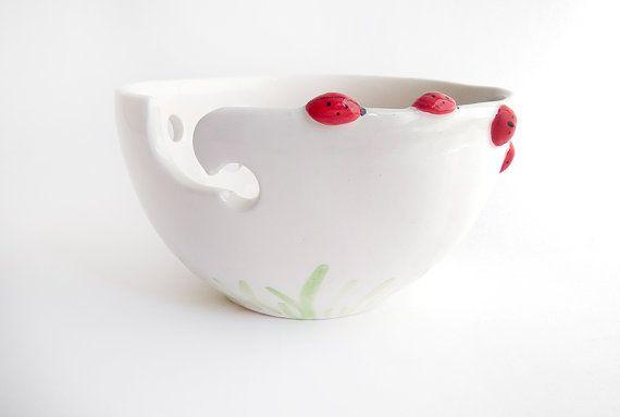 Ladybug Ceramic Yarn Bowl Knitting Bowl Crochet by Barruntando