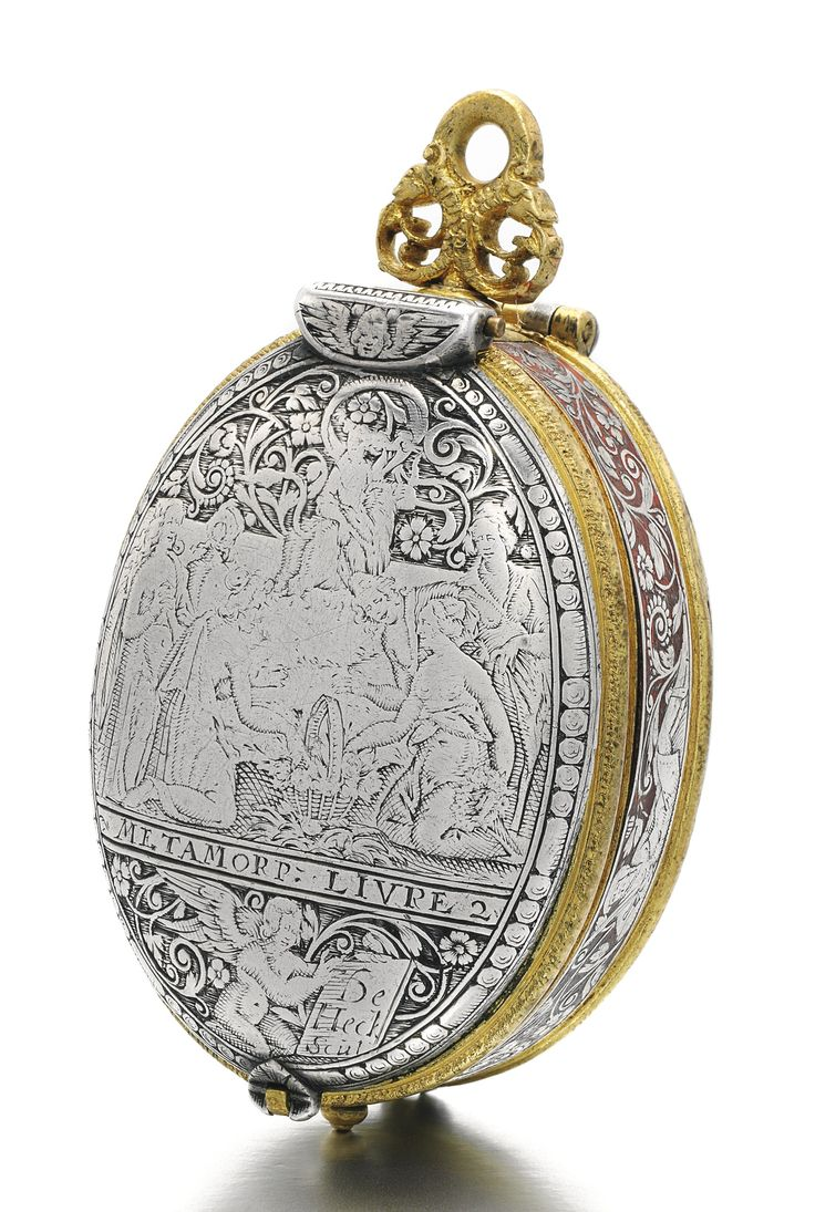 David Ramsay AN IMPORTANT AND EARLY SILVER AND GILT-METAL OVAL ASTRONOMICAL VERGE WATCH WITH PORTRAIT ENGRAVING OF KING JAMES I AND INDICATIONS FOR MONTHS WITH SIGNS OF THE ZODIAC, DAY WITH RULING PLANET, LUNAR DATE, MOON-PHASES AND PLANET HOUR CIRCA 1618
