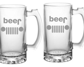 Jeep Beer Glass  Choice of Pilsner, Beer Mug, Pub, Wine Glass, Coffee Mug, Rocks, Water Glass Sand Carved Set of 2