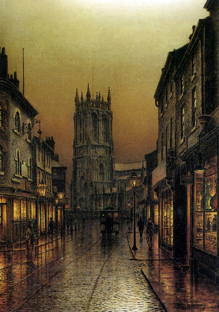 Louis H. Grimshaw (English, 1870-1943)  Evensong, St. Peter's Church, Leeds, 1895. Oil on canvas.