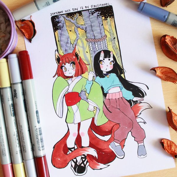 Inktober 2017 day 17 - Kitsune and Eunbooh by Paulinaapc.deviantart.com on @DeviantArt
