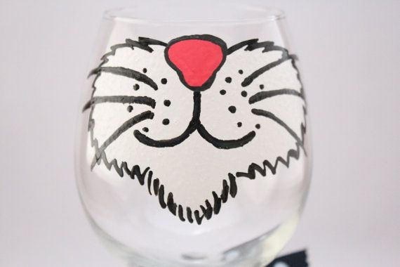 Cat wine glass crazy cat lady hand painted wine by aGlassWithSass