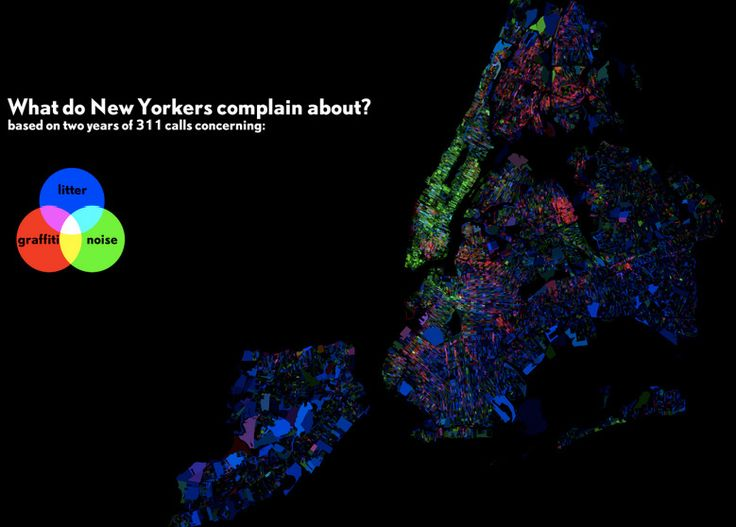 Here's a map of everything New Yorkers call 311 to complain about most: | 38 Maps You Never Knew You Needed
