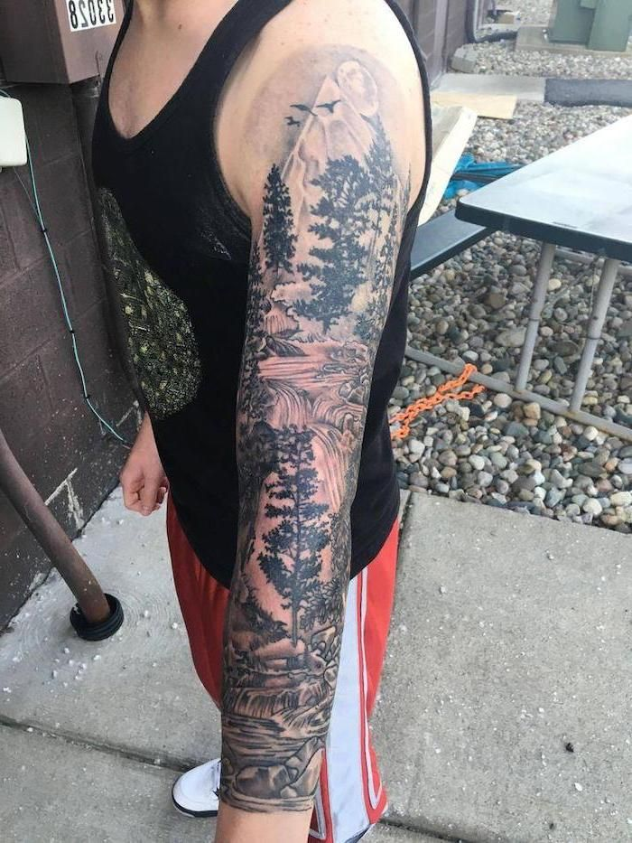 Forest Landscape Half Sleeve Tattoos For Men Black Top Red Pants White S In 2020 Half Sleeve Tattoos For Guys Half Sleeve Tattoos Designs Half Sleeve Tattoos Lower Arm