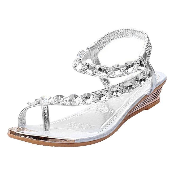 8.09$  Buy now - http://alih5q.shopchina.info/go.php?t=32764916283 - 1 pair Womens Sandals Ladies Low Heel Sparkling Shoes Rhinestone Diamante Flip Flops 8.09$ #magazineonline