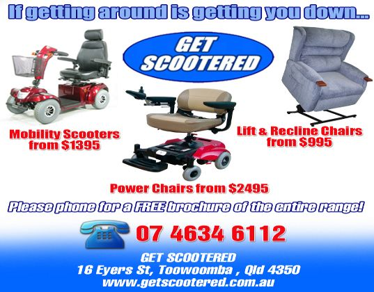 get scootered Toowoomba...mobility scooters and power chairs deal
