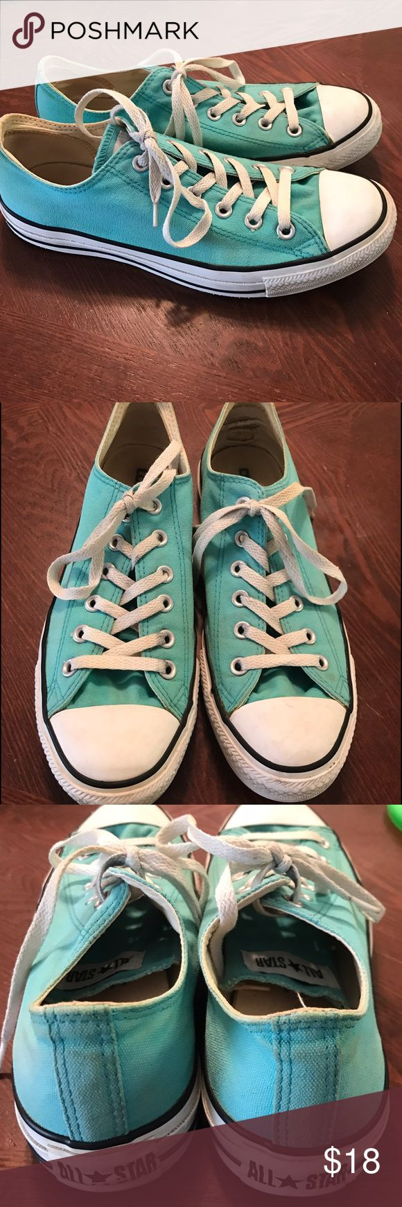 Teal Turquoise Converse Sneakers Womens 10, men's 8... some holes in the inside heels! Won't make a difference if you're wearing socks. Some spots and marks. Still very good condition! Converse Shoes Sneakers