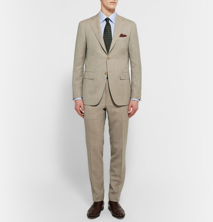 Whether your sport it at a business lunch or summer wedding, Canali's 'Capri' suit is ideal for warm weather. It's been neatly tailored in Italy for a regular fit and is made from breathable wool, silk and linen-blend. The beige hue and slub texture make it feel casual yet considered.