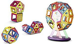 Amazon.com: 52pcs Magnetic Building Set Tiles With Carousel For Kids of All ages, Vibrantly Colored Construction Blocks in Multiple Shapes Aid Creativity And Imagination: Toys & Games