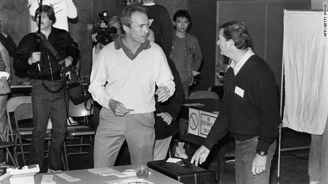 THE FEW AND THE BRAVE! Clint Eastwood goes to the polls as he attempts to become the mayor of Carmel, California, in 1986 (he served one term). Eastwood has traditionally voted Republican, supporting candidates from Richard Nixon to John McCain. There actually are a few Hollywood Celebs that will support Romney. If he wins in November maybe Alec Baldwin will finally move to Cuba, or Bolivia, or some other socialist paradise. One can only hope.
