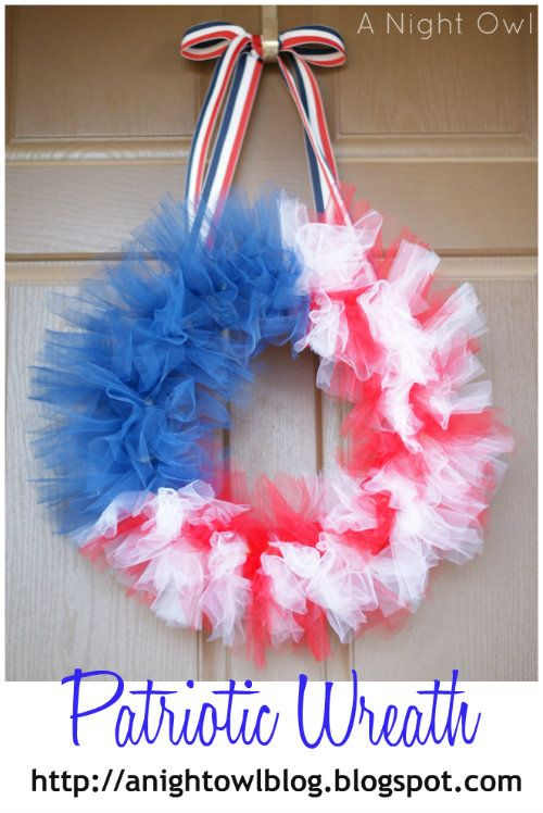 How cute is this!?: Idea, Patriots Wreaths, Tulle Wreaths, Flags Wreaths, 4Th Of July, Night Owl, Patriots Tulle, Tulle Flags, Crafts
