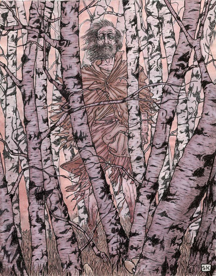 Bastian Kupfer's The Wendigo, by Algernon BLackwood. #bastiankupfer #algernonblackwood #blackwood #wendigo #defago #wood #forest #monster #myth #legend #curse #unconscious #literature #illustration #art #fabulantes