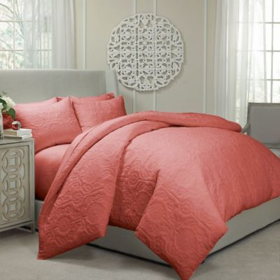 Vue® Barcelona Convertible Coverlet-to-Duvet Cover Set in Coral - BedBathandBeyond.com   $129.99