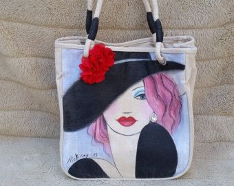 Tote Bag - Black Bag - Handpainted Bag - Shopping Tote - One-Of-A-Kind Bag - Art Accessory - Canvas Bag - Bags & Purses - Gifts For Women