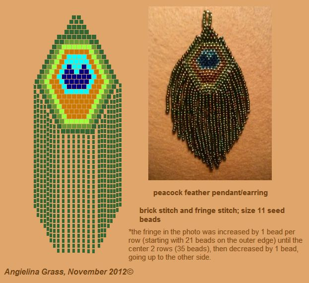 peacock feather pendant/earring pattern by Angielina74, via Flickr
