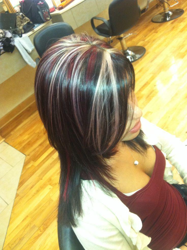Purple Hair With Blonde Highlights Blonde And Dark