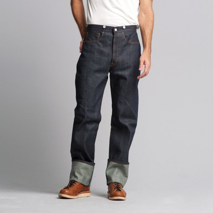 These raw 1890 501 jeans are Levi's first style created in the 501 fit. They feature one back pocket with with an adjustable since waist band and buttons for suspenders. Details: *100% Cotton * 9oz Pl