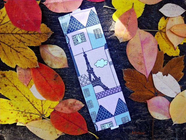 Textil könyvjelző  Mirtusz : Vers Mirtusz-módra : Párizsba beszökött az ősz