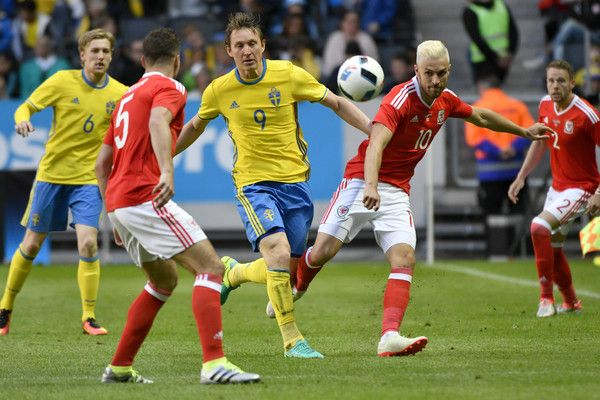Kim Kallstrom of Sweden and Aaron Ramsey of Wales during the international friendly between Sweden and Wales at Friends Arena on June 5, 2016 in Solna, Sweden.
