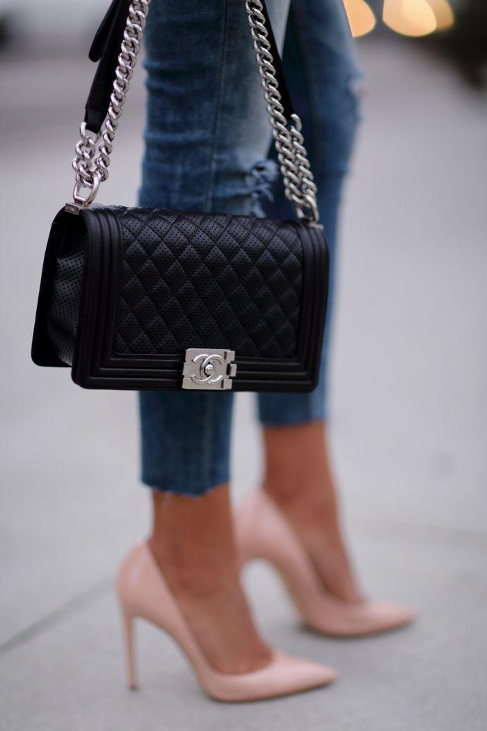Viva Luxury - ASOS cable sweater,  destroyed jean legging | Dolce & Gabbana nude pumps | Chanel Boy bag http://FashionCognoscente.blogspot.com