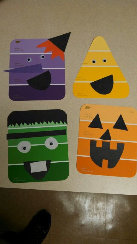 Halloween paint chip crafts at work today. They were so great!