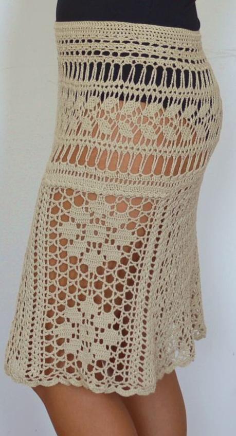 Beige cotton crochet skirt by TaramayKnit on Etsy
