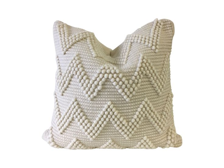 """- Rich textured chevron stripe pillow - Thick loop pile with flat weave stripes - Viscose/cotton blend - Measures: 20"""" x 20"""" - Zip closure with down fill"""