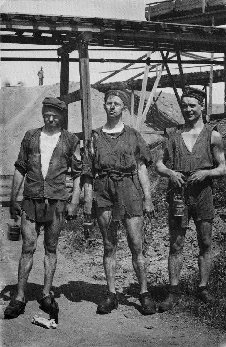 Mineiros de carvão no sul da Suécia, no