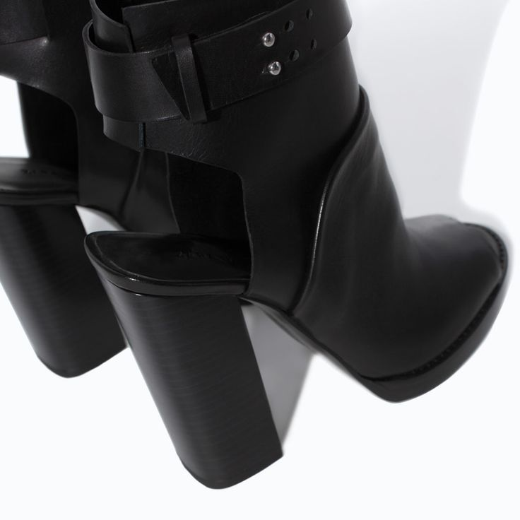 LEATHER HIGH HEEL PEEP TOE ANKLE BOOT from Zara