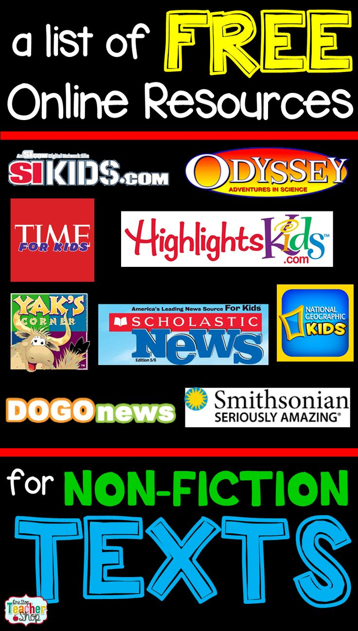 A list of FREE online resources for Non-Fiction Texts and Articles.  Perfect for Reading Centers.  Grades 3-6