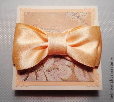 """Коробочка для денег """"Персиковый бант"""" - коробочка для денег,коробочка для подарка"""
