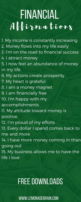 Money affirmations list