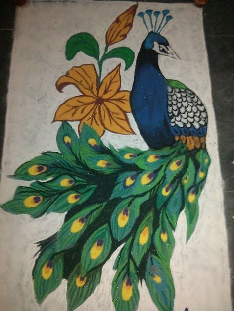 Rangoli Designs of Peacock for Diwali
