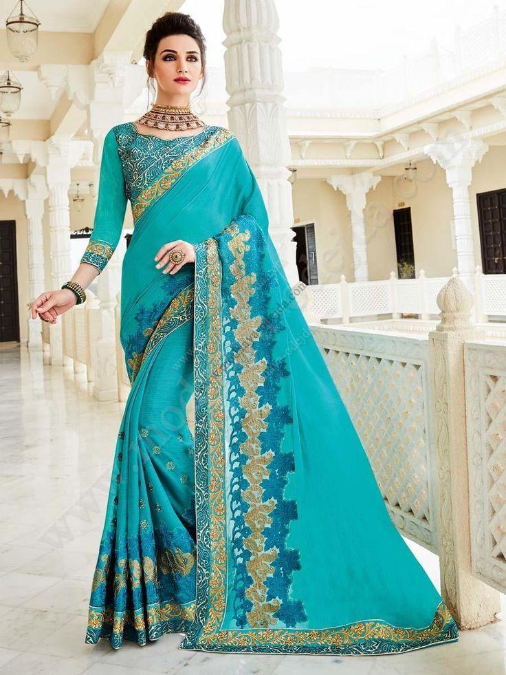 Красивое индийское сари из креп-жоржета, украшенное вышивкой скрученной шёлковой нитью с люрексом и стразами