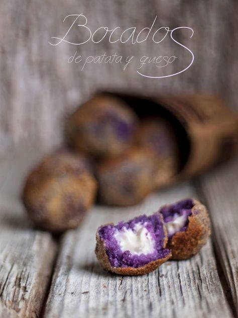 Una receta facilísima y muy vistosa gracias al bonito color de las patatas violetas .           BOCADOS DE PATATA Y QUESO     Ingredientes:...