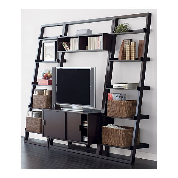 Sloane Espresso 44 Quot Leaning Media Stand With 2 Bookcases