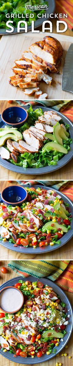 Ready to lighten up? This Mexican Grilled Chicken Salad from @spicyperspectiv is perfect for warm weather! Veggies piled high, topped with taco-seasoned grilled chicken and creamy ranch dressing - it's just perfect for lunch on a warm day!