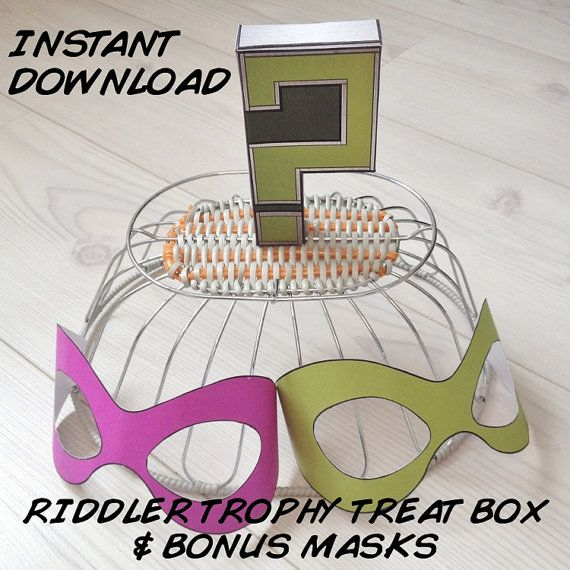 Riddler Trophy Inspired Treat Box Printable by MissFrightsDelights + 2 free printable cosplay costume masks! https://www.etsy.com/listing/207983622/