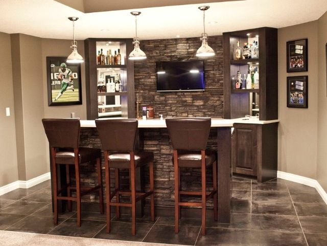 Tilebrick wall behind bar  Basement  Bars for home
