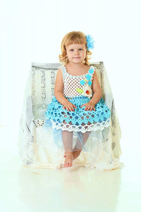 Summer crochet dress  / blue dress/ elegant dress/ by llemio
